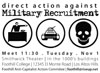 Direct action against Military Recruitment flyer